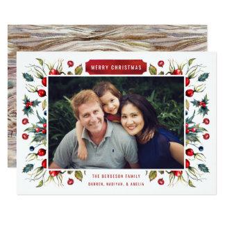 Waldbeeren-Foto-Weihnachtskarte 12,7 X 17,8 Cm Einladungskarte