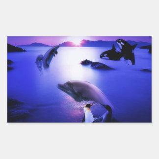Waldelphin-Pinguin-Ozeansonnenuntergang Rechteckiger Aufkleber