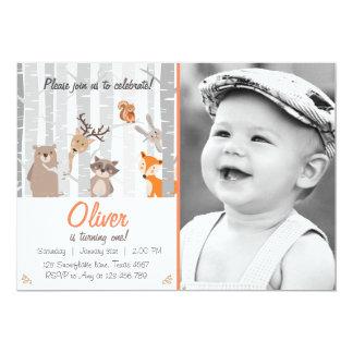 Walderste Geburtstags-Einladungs-Waldtiere 12,7 X 17,8 Cm Einladungskarte
