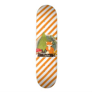 WaldFox; Orange und weiße Streifen Individuelle Skateboarddecks