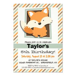 WaldFox; Weises Grün, Orange, Brown-Streifen 12,7 X 17,8 Cm Einladungskarte