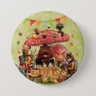 Waldfreunde am Teatime im Wald Runder Button 7,6 Cm