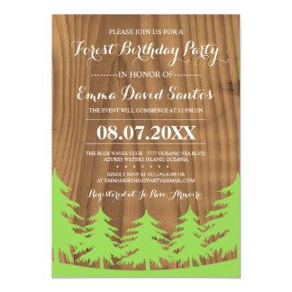 Waldgeburtstags-Party lädt ein 12,7 X 17,8 Cm Einladungskarte