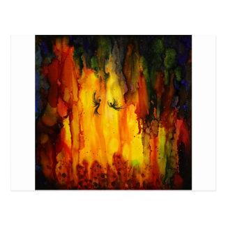 Waldgeist - abstrakte flüssige Malerei Postkarte