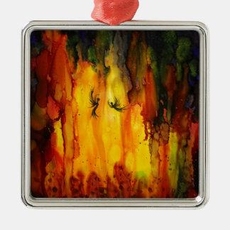 Waldgeist - abstrakte flüssige Malerei Quadratisches Silberfarbenes Ornament