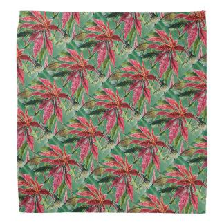 Waldgrün-Poinsettia gemustert Kopftuch