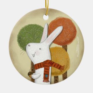 Waldhäschen mit Eichel Keramik Ornament