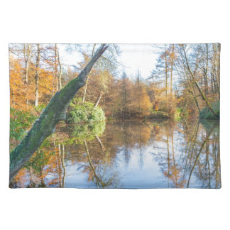 Waldherbstlandschaft mit Teich Tischset