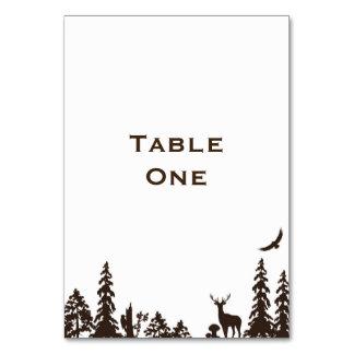 Waldhochzeits-Tabellen-Name oder Zahl Karte