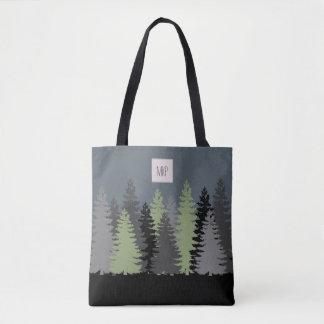 Waldholz-Kiefer mit Monogramm Tasche