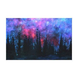 Waldkiefern - Starry Himmel-Leinwand-Druck Leinwanddruck