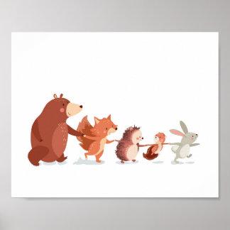 WaldKinderzimmer tragen Tierwand-Abziehbild Kinder Poster