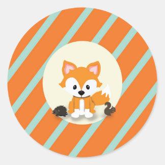 Waldland und Fox-Babyparty-Einladungs-Aufkleber Runder Aufkleber