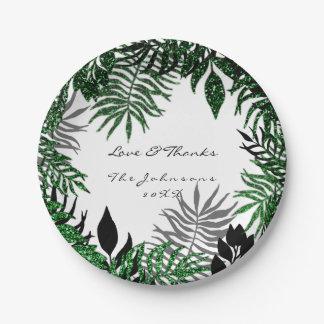 Waldlanddanken tropisches Schwarz-weißes Cali Grün Pappteller