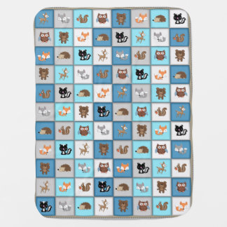 WaldPatchwork-Baby-Tiere Quiltlike *Blue Babydecke