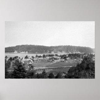 Waldport, Oregon-Stadtansicht, die Nord schaut Poster