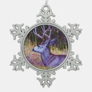 Waldprinz, Maultierhirsch-Dollar Schneeflocken Zinn-Ornament