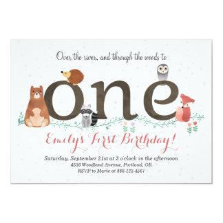 Waldtier-erste Geburtstags-Einladung 12,7 X 17,8 Cm Einladungskarte