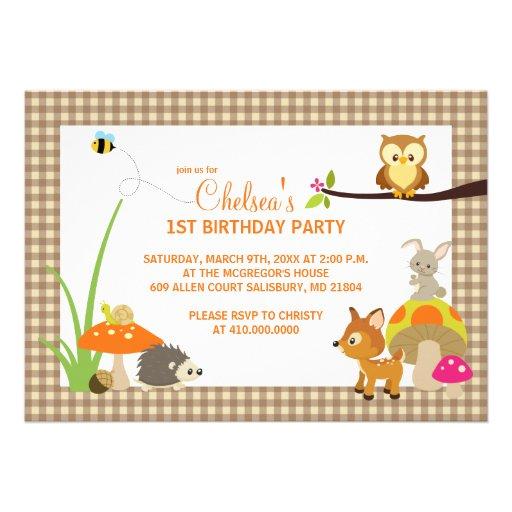 Waldtier-erste Geburtstags-Einladungen