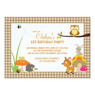 Waldtier-erste Geburtstags-Einladungen 12,7 X 17,8 Cm Einladungskarte