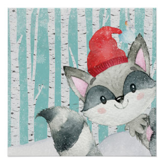 Waldtierfreunde im Winter-WaldRacoon Poster