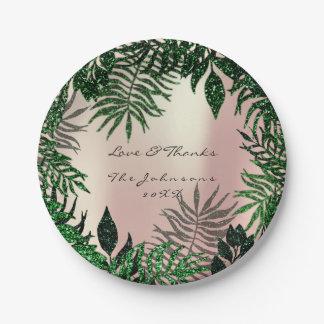 Waldtropische Rose erröten Cali Grün danken Ihnen Pappteller
