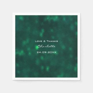 Waldtropische tiefgrüne Grün Cali Hochzeit Papierserviette