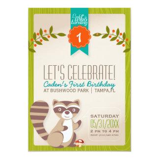 WaldWaschbär-Geburtstags-Einladung Karte