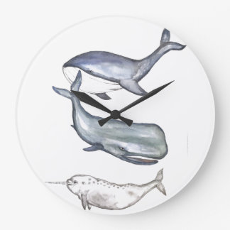 Wale, Walfamilie, Buckelwal, Buckelwale, Wal Große Wanduhr