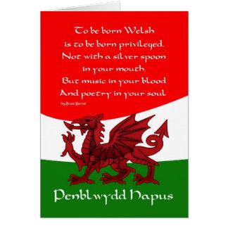 Waliser-Drache-Geburtstags-Karte - Gedicht durch Karte