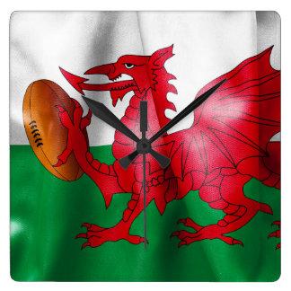 Waliser-Drache-Rugbyball-Flagge Quadratische Wanduhr