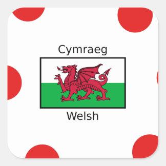 Waliser-Sprache und Wales-Flaggen-Entwurf Quadratischer Aufkleber
