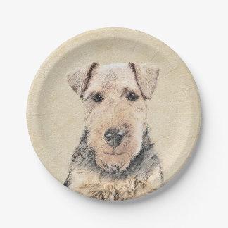 Waliser-Terrier-Malerei - niedliche ursprüngliche Pappteller