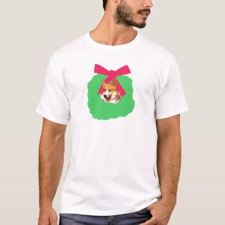 Walisercorgi-Feiertags-WeihnachtsKranz T-Shirt