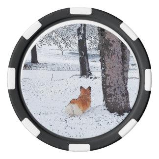 WaliserCorgi im Schnee Pokerchips