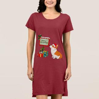 WaliserCorgi mit Weihnachtsmannmütze und Zeichen Kleid