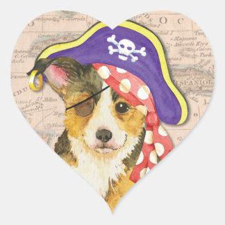 Walisercorgi-Pirat Herz-Aufkleber