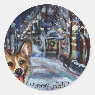 Walisercorgi-Weihnachtswinterliche Szene Runder Sticker