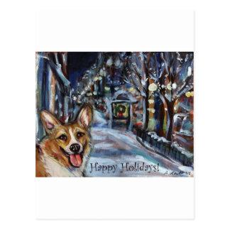 Walisercorgi-Weihnachtswinterliche Szene Postkarten