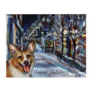 Walisercorgi-Weihnachtswinterliche Szene Postkarte