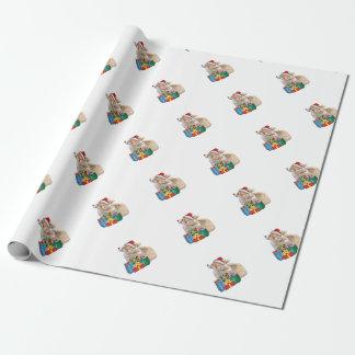 Walisercorgi-Welpe mit Weihnachtsmannmütze Geschenkpapier