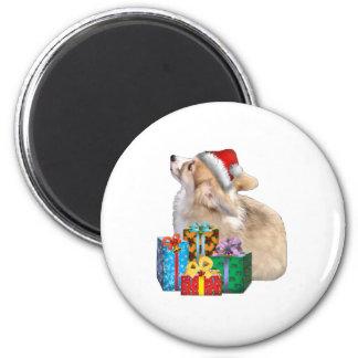 Walisercorgi-Welpe mit Weihnachtsmannmütze Runder Magnet 5,1 Cm