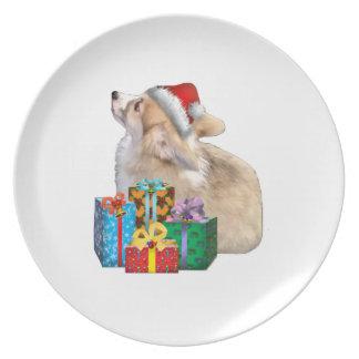 Walisercorgi-Welpe mit Weihnachtsmannmütze Teller