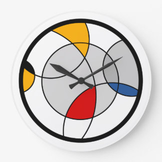 Wall Clock with contemporary abstract color design Große Wanduhr