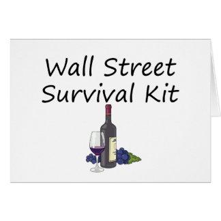 Wall Street-Überlebensausrüstungs-Wein-Flaschengla Grußkarte