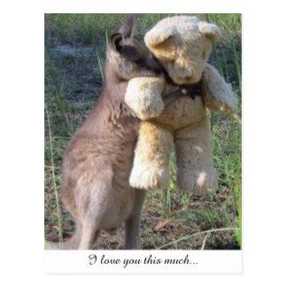 Wallaby, der teddybear Postkarten-Liebe Sie umarmt Postkarte