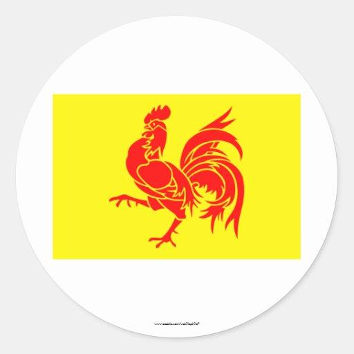 Wallonische Regions-Flagge Runde Aufkleber