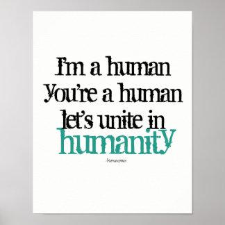 Wand-Plakat bin ich ein Mensch vereinige Poster