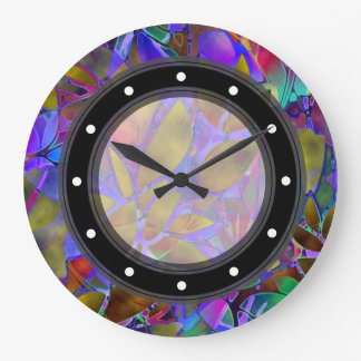 Wand-Uhr-abstraktes beflecktes mit Blumenglas Große Wanduhr