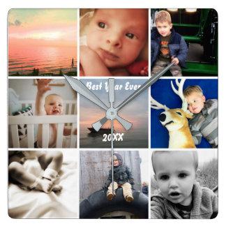 Wand-Uhr-Familien-oder das Foto-Collage des Paares Quadratische Wanduhr